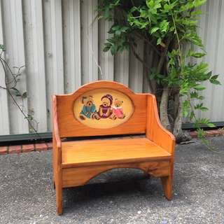 Hand made kid's wooden bench with hand painted teddy bears
