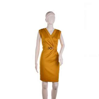 #439 Elegant Sleeveless Wrap Decorative Belt Detail Sheath Dress (Yellow)