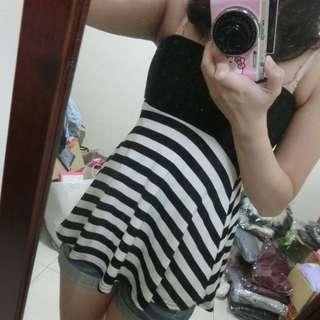 平口條紋洋裝