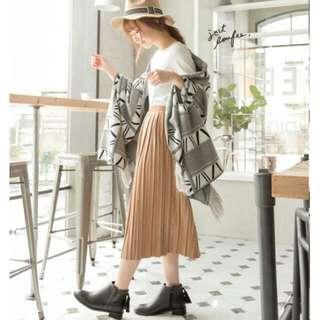 時髦麂皮百摺中長裙