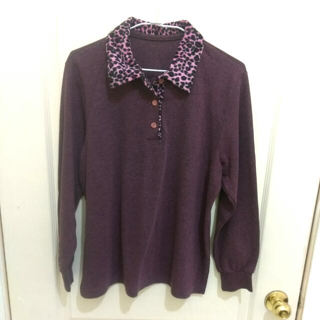 豹紋領紫色上衣 女上衣 媽媽裝