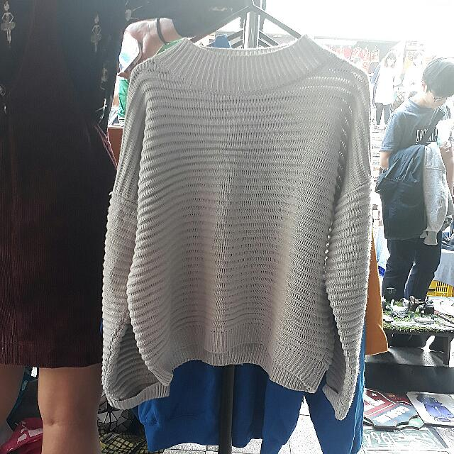 可愛折袖針織上衣