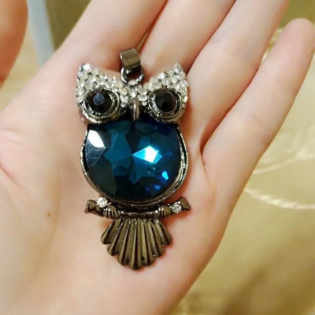 【全新】閃亮藍寶石貓頭鷹長項鍊