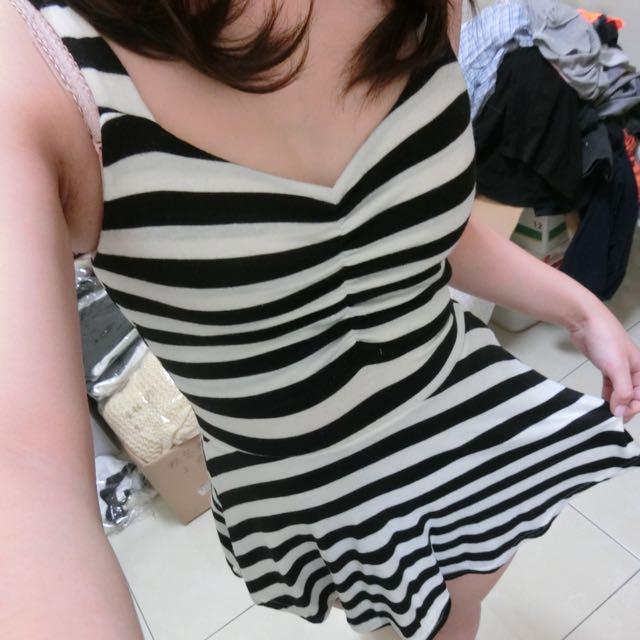 條紋無袖洋裝