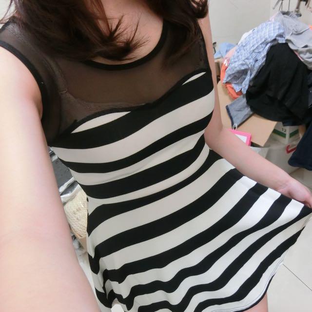 無袖網紗條紋洋裝