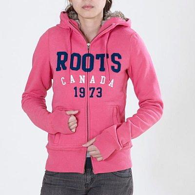 歡慶聖誕 Roots加厚毛毛女款粉紅色藍色字母修身保暖連帽外套/騎士保暖連帽外套/運動上衣/Roots保暖毛毛外套