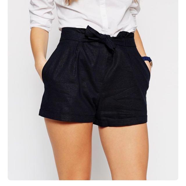 Asos Navy Linen Shorts Size L 14-16