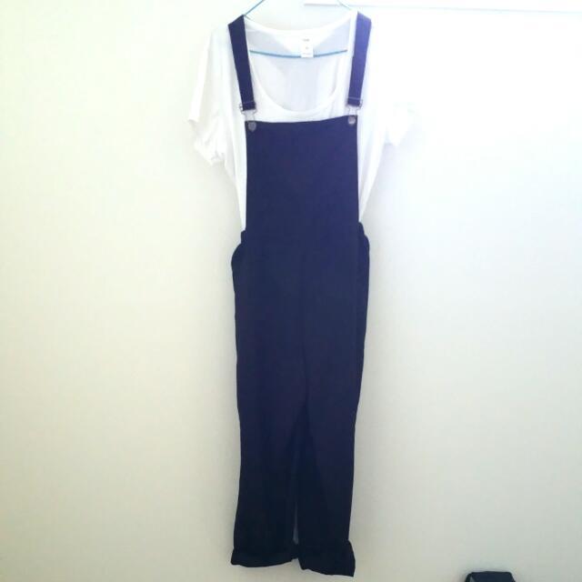 Black Full Length Overalls Aus Size 10-12