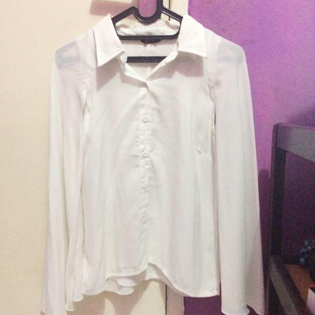 blouse with cape blazer white