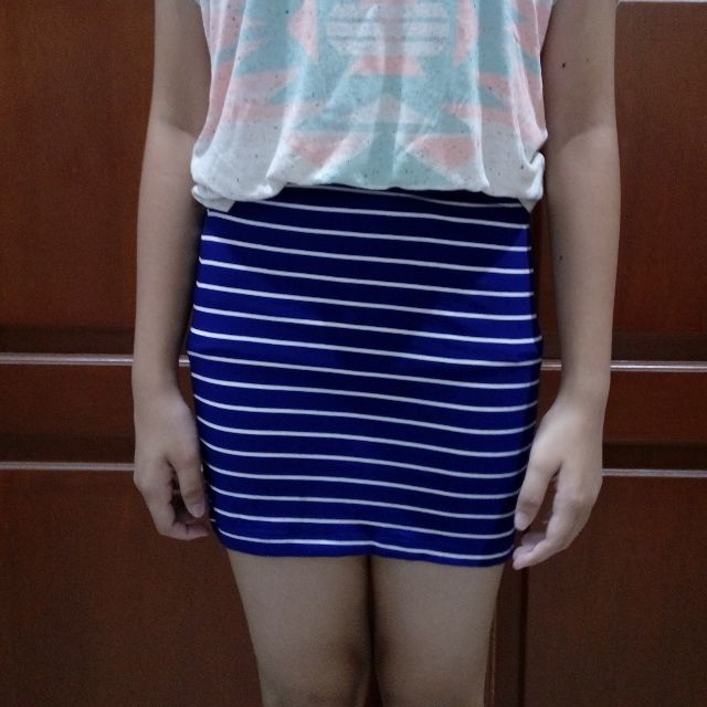 blue stripe bandage skirt