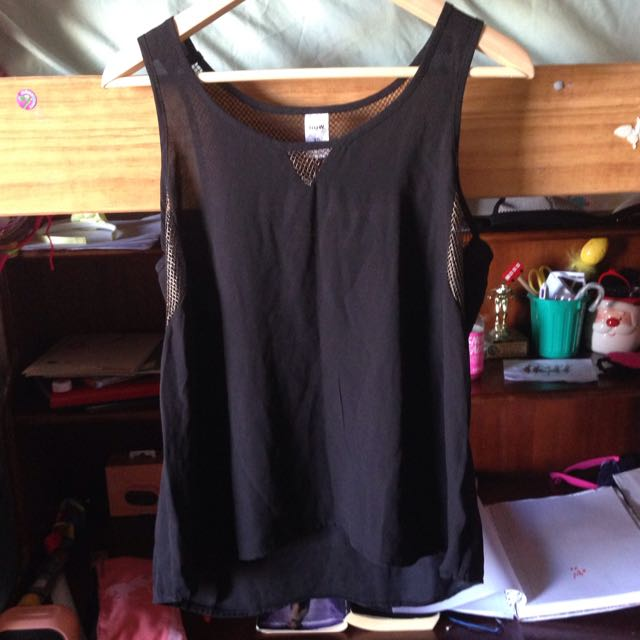 Bnwt Black Top With Gold Netting