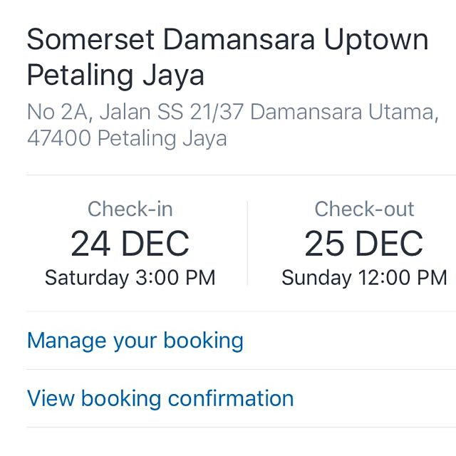 Booking Confirmation Somerset Damansara PJ