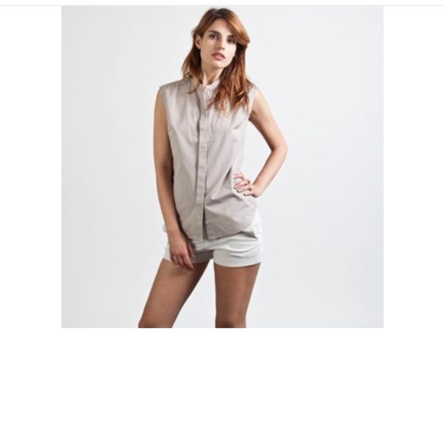 Everlane Cotton Poplin Button Down Sleeveless Shirt Size L 14-16