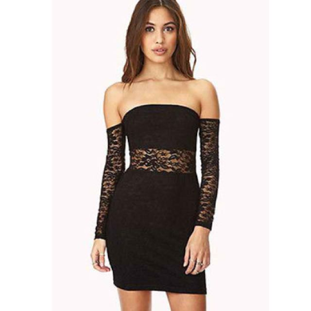 Forever 21 Off Shoulder Bodycon Lace Dress