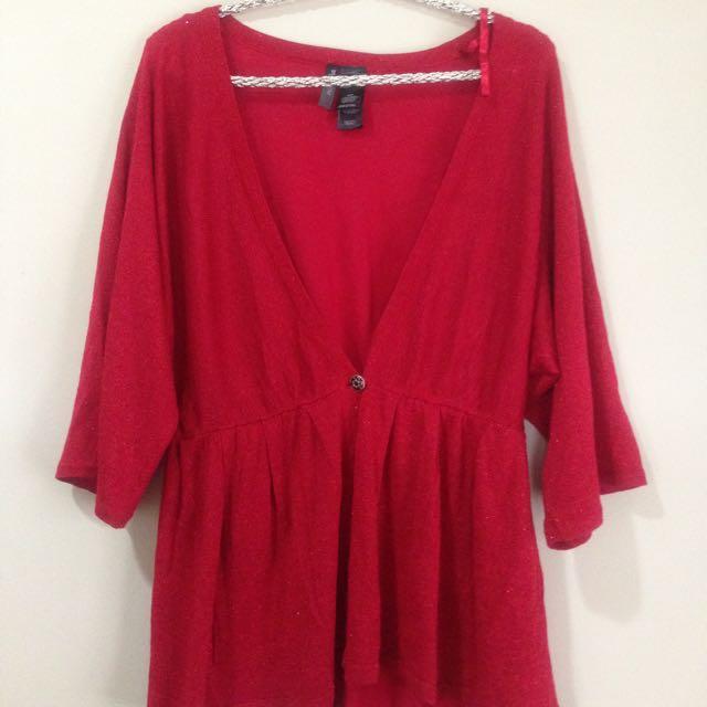 glittery red cardigan