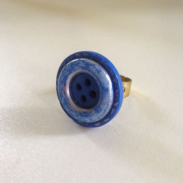 Handmade Blue Indie Button Ring