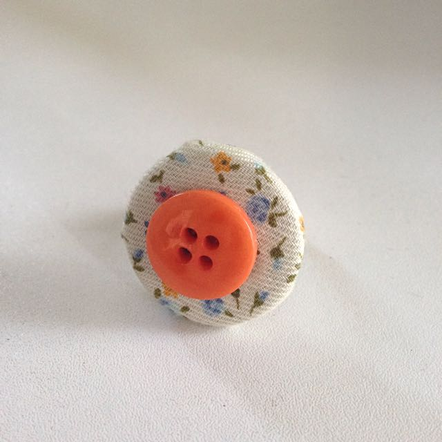 Handmade Indie Floral Button Ring