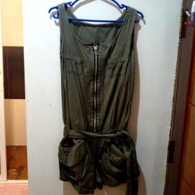 Khaki Romper Shorts