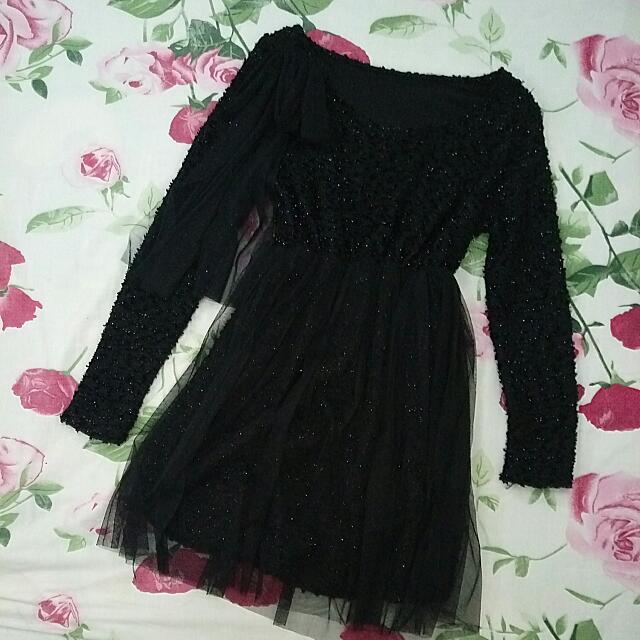 Korean Cute Black Tulle Dress