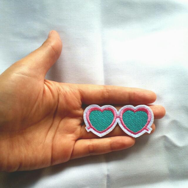 Love Glasses Blue Iron Patch