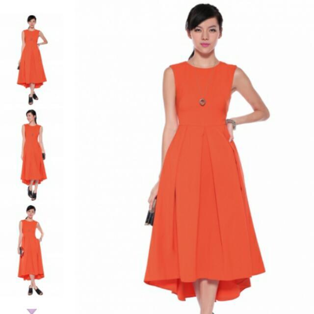0a3262c902 Lovebonito Deloisa asymmetrical dress in Vermilion, Women's Fashion ...
