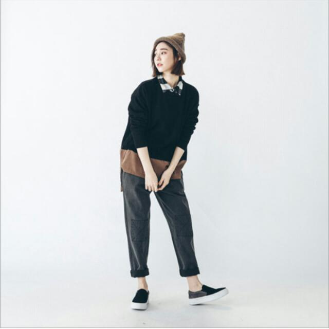 QS補丁造型牛仔褲(黑)