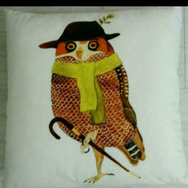 Retro Eclectic Owl Cushion