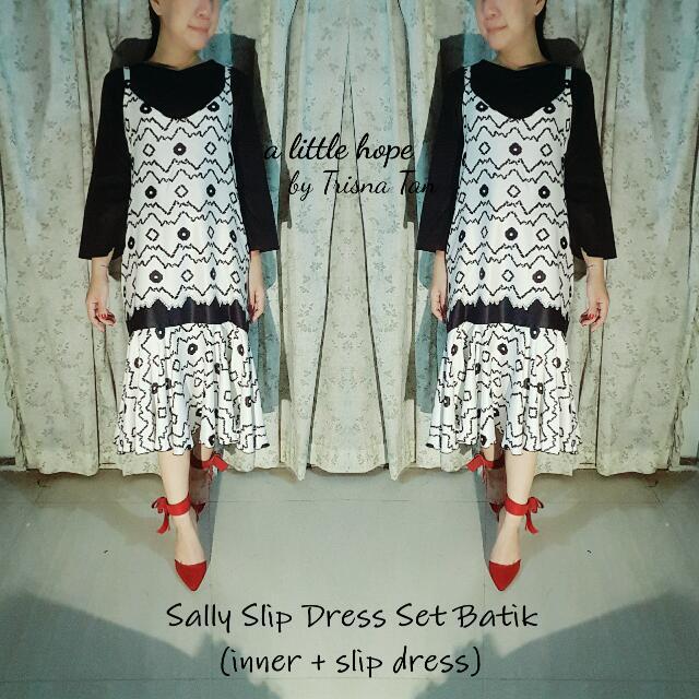 Sally Slip Dress Batik Set Semi Sutera (Inner + Slip Dress)