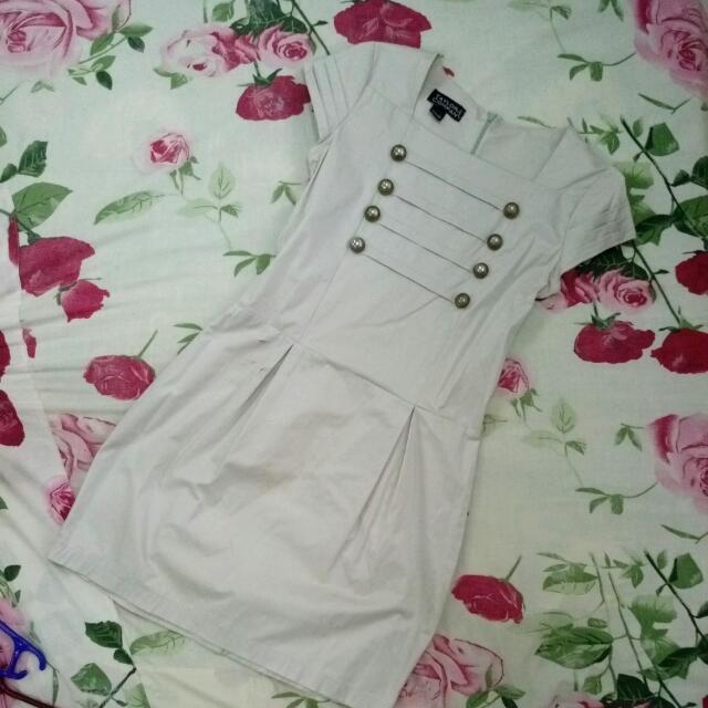 Short Sleeve Light Gray Short Dress