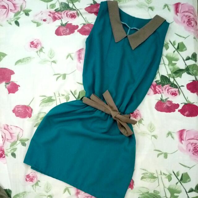 Teal Sleeveless Short Dress