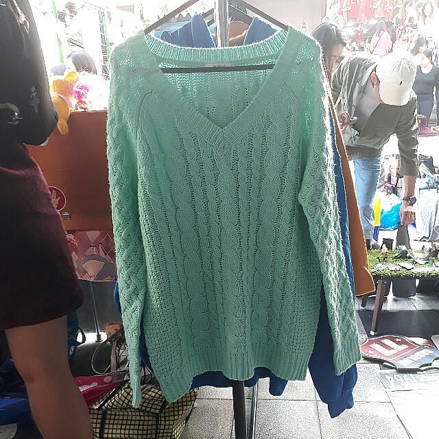 Tiffany綠麻花針織上衣