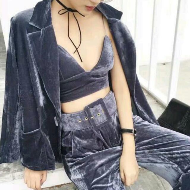 Velvet Crop Pants × Blazer