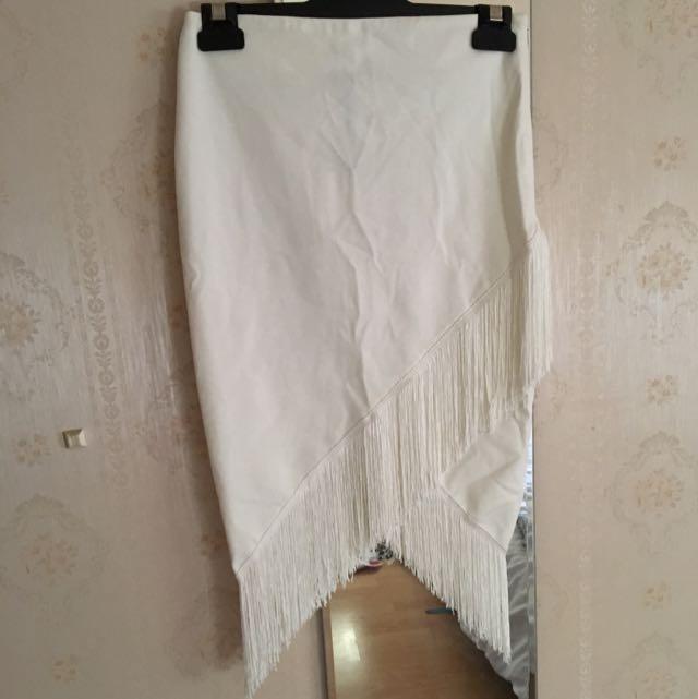 White Tassel Midi Skirt