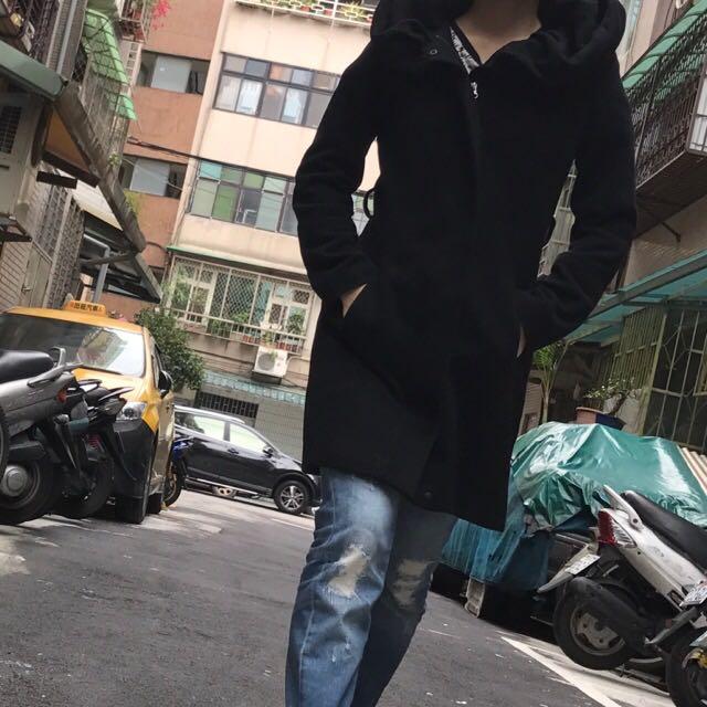 XS合版zara黑色款帽沿大翻領大衣外套