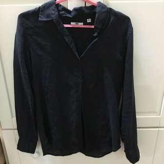 Uniqlo 女版黑色亞麻襯衫