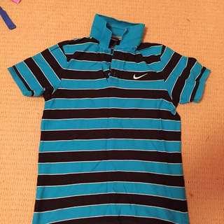 Blue Striped Nike Polo