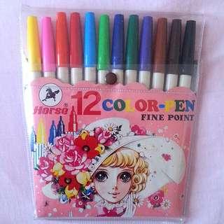 12 Colours Fine-point Marker Pens
