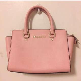 專櫃正品 全新 Michael Kors MK 粉紅色 斜背 肩背 手提包