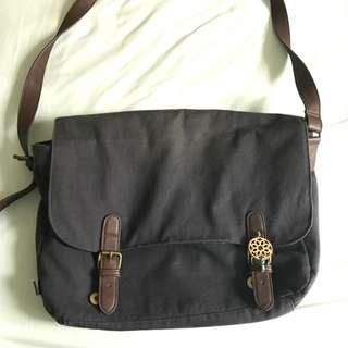 Asos Messenger Bag With Faux Leather Detail