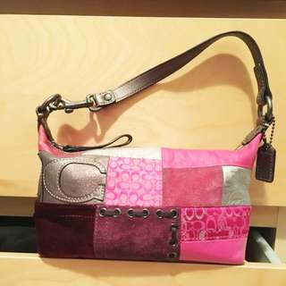 Coach Pink Patchwork Shoulder Bag