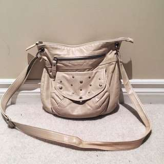 Cream Crossbody Bag With Studs