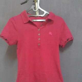 Burberry Polo Shirt Fuschia Murah