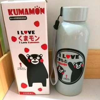 🚚 熊本熊 雙層 隔熱 玻璃瓶 隨手背 水壺