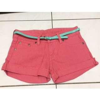 全新 超美粉紅色 反摺牛仔褲