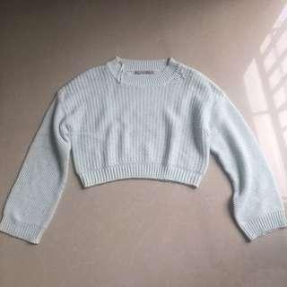 ZARA Loose Crop Knit in Baby Blue