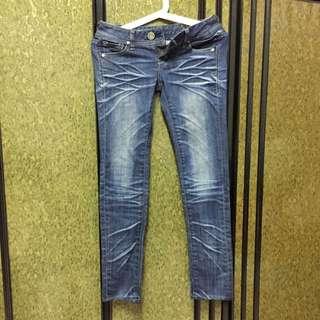 低腰刷色牛仔褲