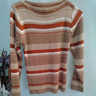 Diskon Sweater Stripped Brown Fit To S