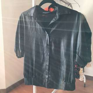 Forecast Black Wet look Blouse