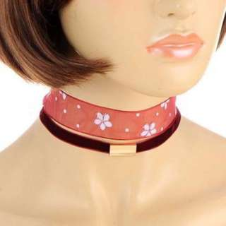 Choker Metal Flower Double Layer Claret Red