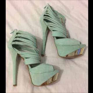 Size 8 Aqua Peep Toe Heels